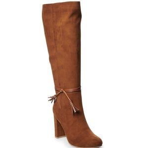 LC Lauren Conrad Knee High Boots COGNAC